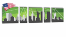 Canvas Multi 5pcs 200x50cm US Cities