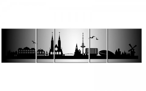 panorama leinwand 5 bilder bremen silber p500006 xxl skyline die leinwandfabrik. Black Bedroom Furniture Sets. Home Design Ideas