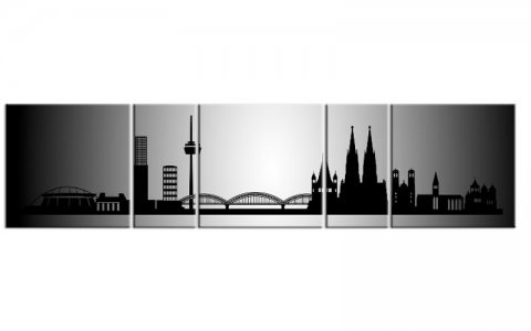 panorama leinwand 5 bilder k ln silber p500024 xxl skyline die leinwandfabrik. Black Bedroom Furniture Sets. Home Design Ideas