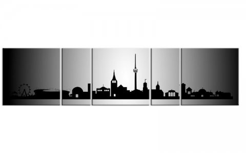 panorama leinwand 5 bilder stuttgart silber p500036 xxl skyline die leinwandfabrik. Black Bedroom Furniture Sets. Home Design Ideas