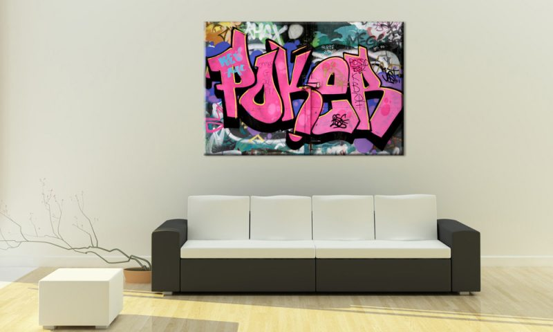 poker graffiti style leinwand pink a00560 die leinwandfabrik. Black Bedroom Furniture Sets. Home Design Ideas