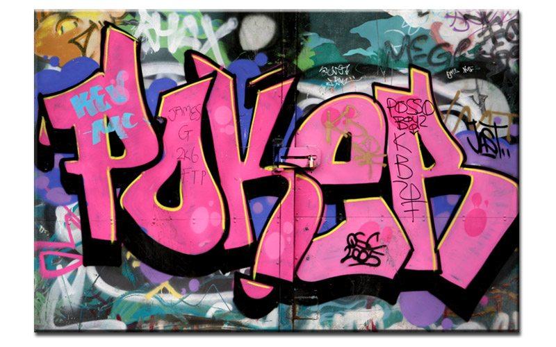 poker graffiti style leinwand pink a00560 die leinwandfabrik. Black Bedroom Furniture Sets. Home Design Ideas