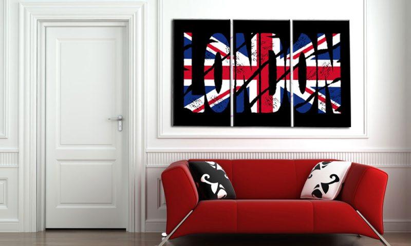 london leinwand 3 bilder union jack london popart c00750 die leinwandfabrik. Black Bedroom Furniture Sets. Home Design Ideas