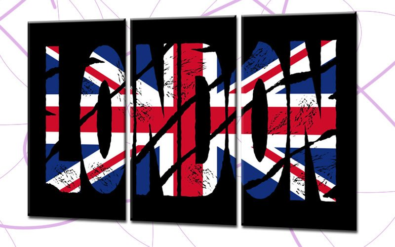 london leinwand 3 bilder union jack london popart c00750 die leinwandfabrik. Black Bedroom Furniture Sets. Home Design Ideas