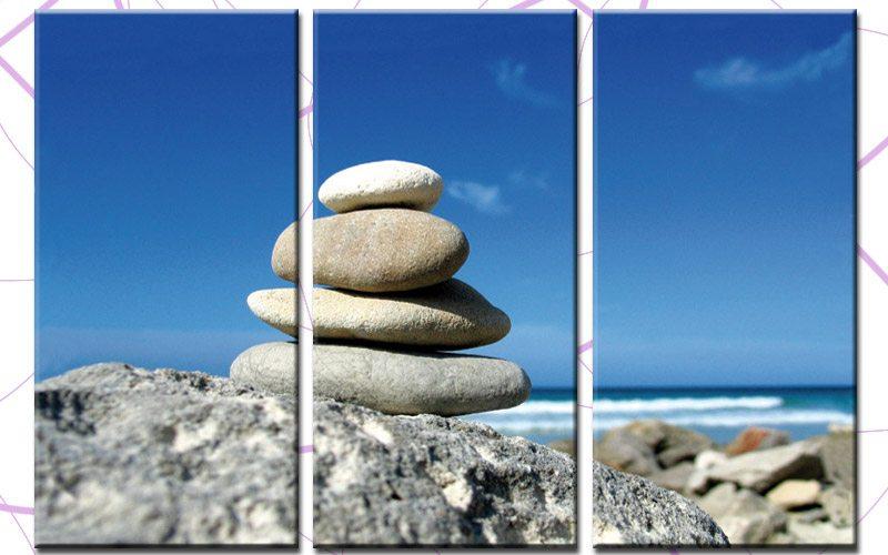 beach stones leinwand 3 bilder steine feng shui c00712. Black Bedroom Furniture Sets. Home Design Ideas