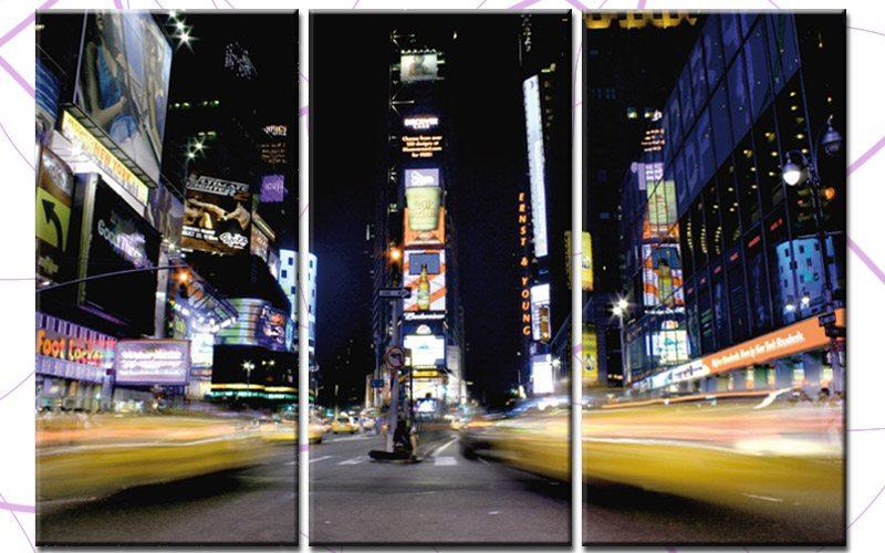times square at night leinwand 3 bilder new york c00672 die leinwandfabrik. Black Bedroom Furniture Sets. Home Design Ideas