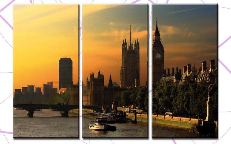 london leinwand 3 bilder big ben tower bridge c00254 die leinwandfabrik. Black Bedroom Furniture Sets. Home Design Ideas