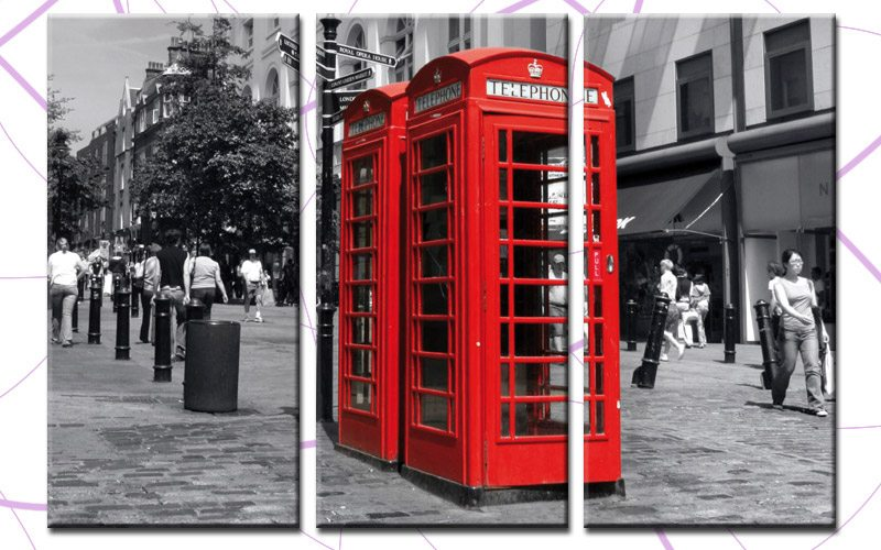 red phone box leinwand 3 bilder london phone box c00241 die leinwandfabrik. Black Bedroom Furniture Sets. Home Design Ideas