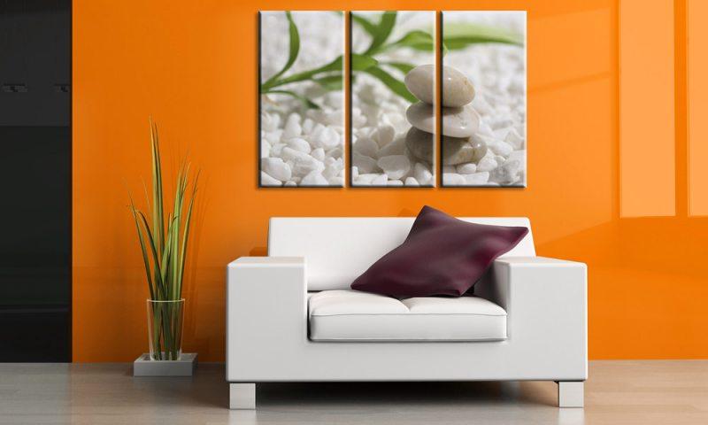white stones leinwand 3 bilder bambus stone relax c00191. Black Bedroom Furniture Sets. Home Design Ideas