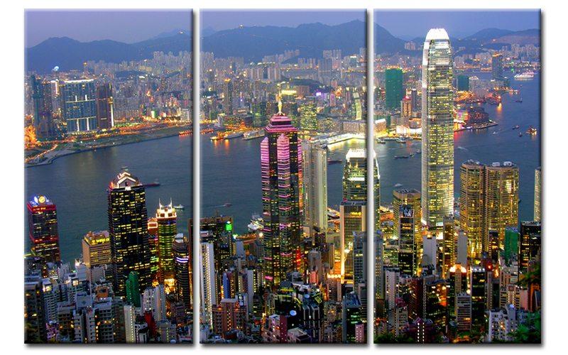megacity leinwand 3 bilder hong kong skyline city c00910 die leinwandfabrik. Black Bedroom Furniture Sets. Home Design Ideas