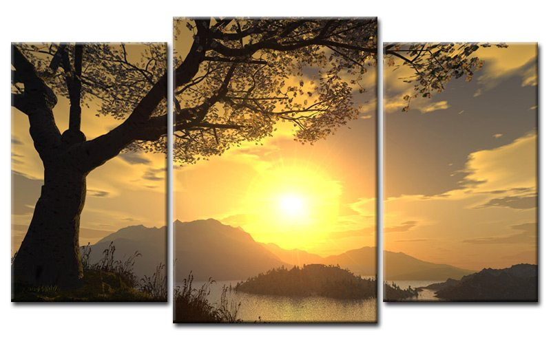 sunset leinwand 3 bilder lake m30567 die leinwandfabrik. Black Bedroom Furniture Sets. Home Design Ideas