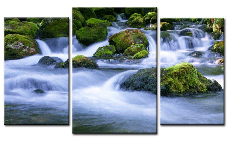forest stream leinwand 3 bilder natur m30571 die leinwandfabrik. Black Bedroom Furniture Sets. Home Design Ideas