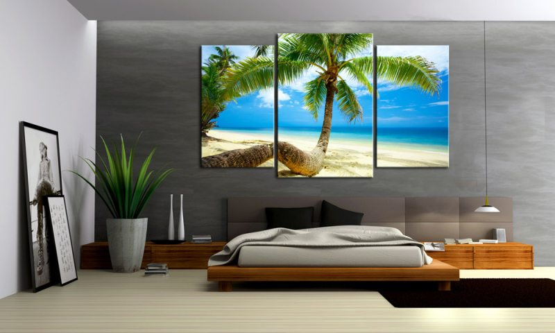 twistet palm leinwand 3 bilder karibik m30579 die leinwandfabrik. Black Bedroom Furniture Sets. Home Design Ideas