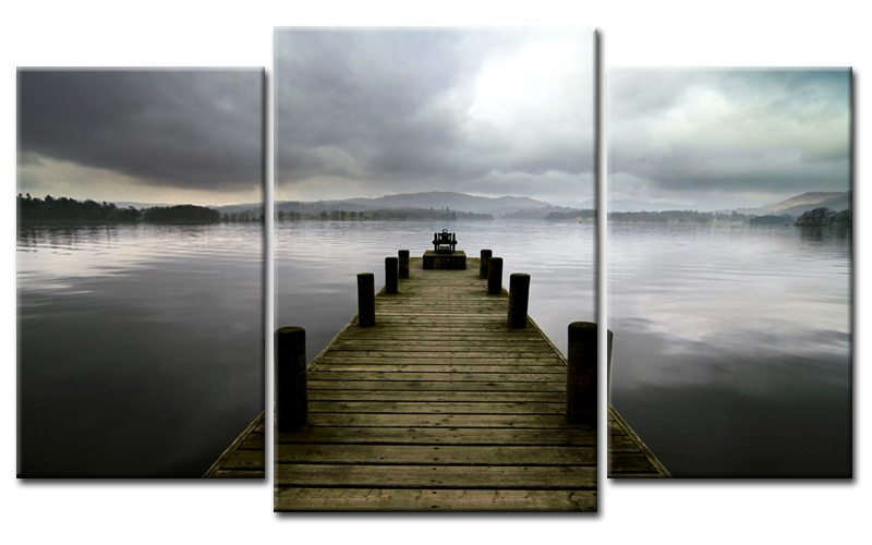 steg sturm leinwand 3 bilder see grau m30594 die. Black Bedroom Furniture Sets. Home Design Ideas