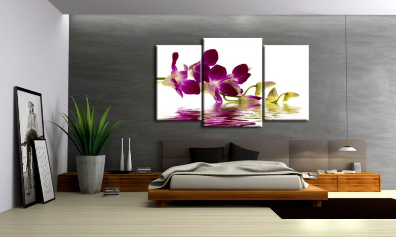 orchidee zauber leinwand 3 bilder lila m30459 die leinwandfabrik. Black Bedroom Furniture Sets. Home Design Ideas