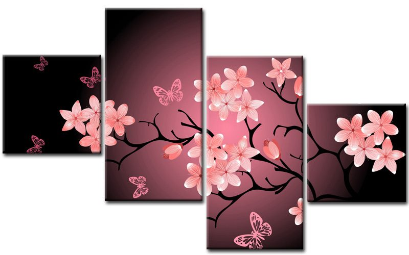 japanes leinwand 4 bilder cherry blossom m40707 xxl die leinwandfabrik. Black Bedroom Furniture Sets. Home Design Ideas