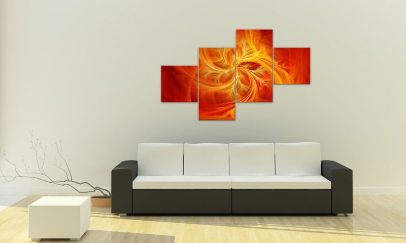 fire fly leinwand 4 bilder abstrakt orange m41025 xxl die leinwandfabrik. Black Bedroom Furniture Sets. Home Design Ideas