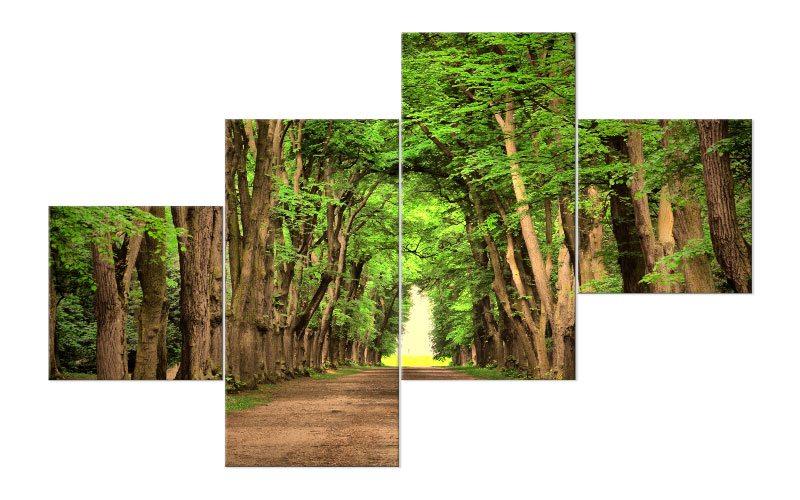 wald weg leinwand 4 bilder green forest m41050 xxl die. Black Bedroom Furniture Sets. Home Design Ideas
