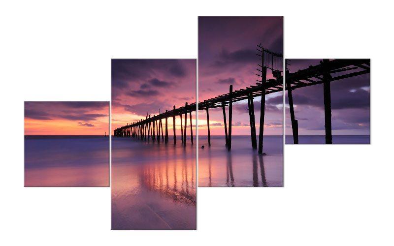 lila sunset leinwand 4 bilder steg sea m41055 xxl - die leinwandfabrik - Glasbilder Xxl Küche