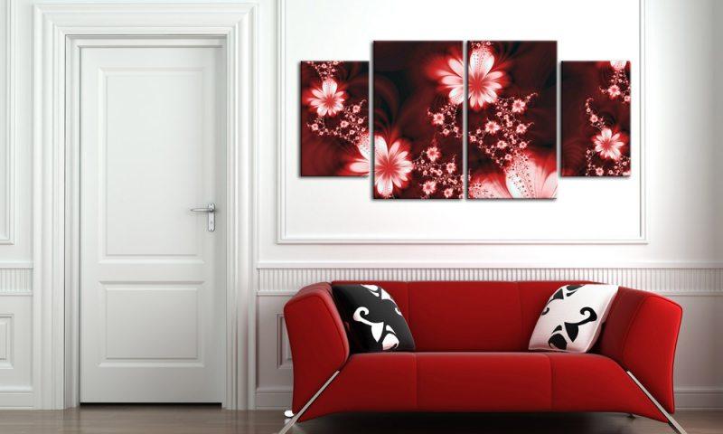 blumen ornamente leinwand 4 bilder rot m40557 xl die leinwandfabrik. Black Bedroom Furniture Sets. Home Design Ideas