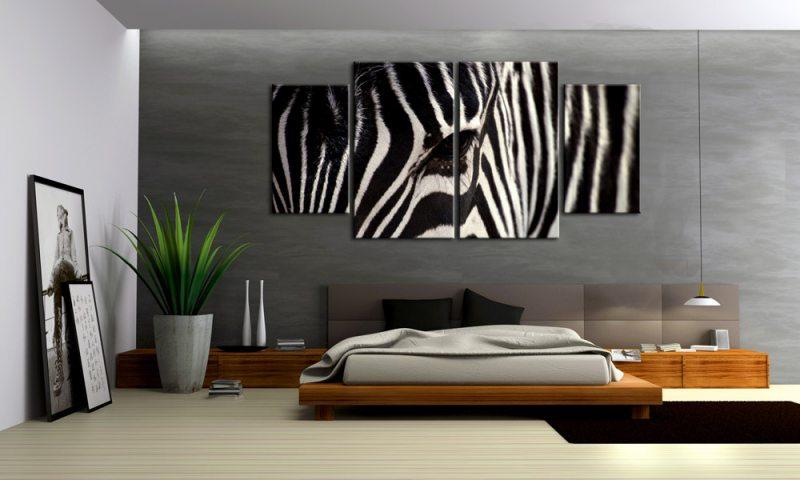 Wandbilder Wohnzimmer Leinwand ~ Zebra animal leinwand bilder schwarz weiß m xl die