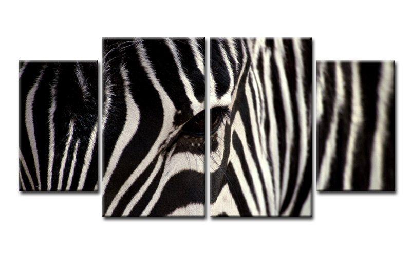 zebra animal leinwand 4 bilder schwarz wei m40555 xl die leinwandfabrik. Black Bedroom Furniture Sets. Home Design Ideas