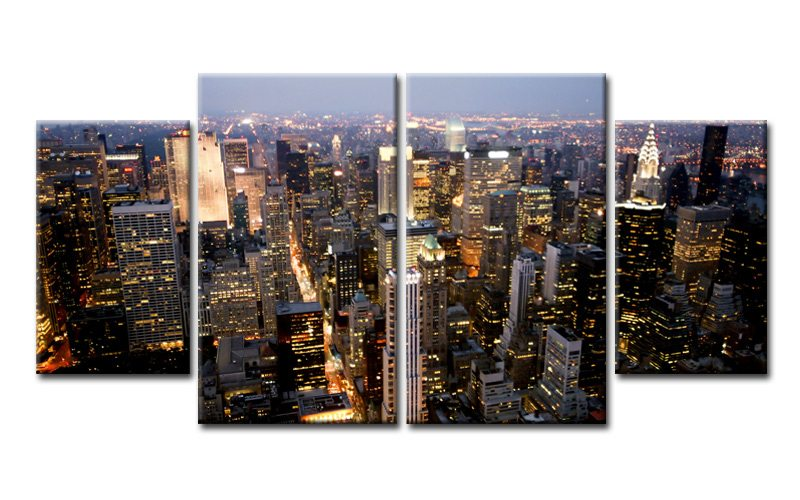 new york usa leinwand 4 bilder city skyline m40554 xl die leinwandfabrik. Black Bedroom Furniture Sets. Home Design Ideas