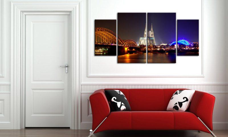 k ln by night leinwand 4 bilder br cke dom m40549 xl die leinwandfabrik. Black Bedroom Furniture Sets. Home Design Ideas