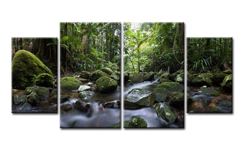 jungle paradis leinwand 4 bilder natur tree m40548 xl die leinwandfabrik. Black Bedroom Furniture Sets. Home Design Ideas