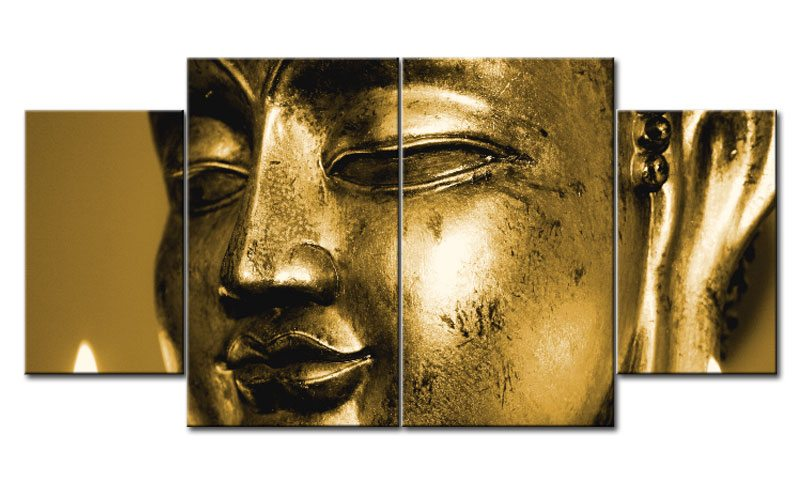 golden buddha leinwand 4 bilder feng shui m40761 xl die leinwandfabrik. Black Bedroom Furniture Sets. Home Design Ideas