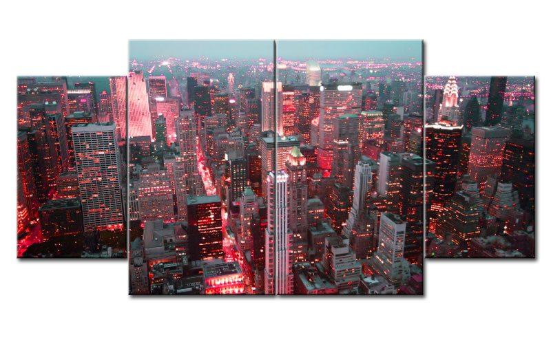 new york leinwand 4 bilder skyline red m40762 xl die. Black Bedroom Furniture Sets. Home Design Ideas