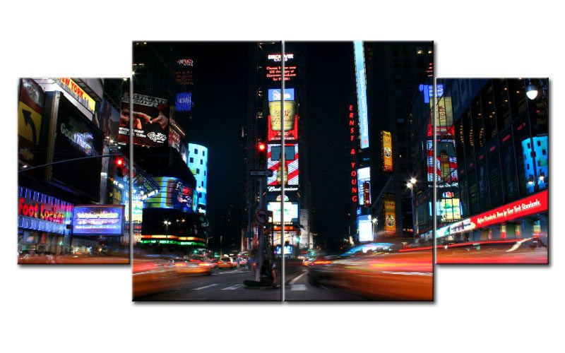 times square leinwand 4 bilder new york m40787 xl die leinwandfabrik. Black Bedroom Furniture Sets. Home Design Ideas