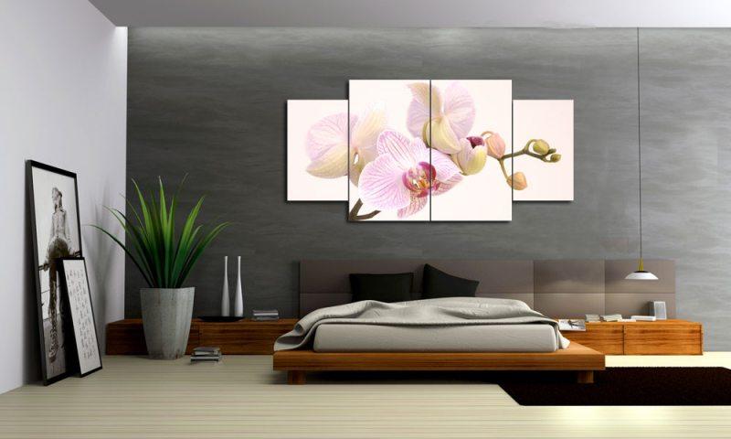 rosa orchidee leinwand 4 bilder modern m40883 xl die leinwandfabrik. Black Bedroom Furniture Sets. Home Design Ideas