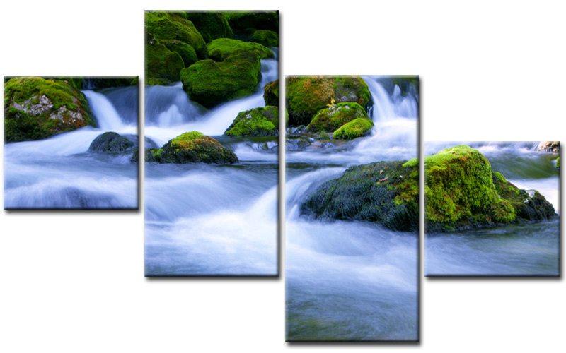 forest stream leinwand 4 bilder natur wald m40632 g nstig xxl die leinwandfabrik. Black Bedroom Furniture Sets. Home Design Ideas