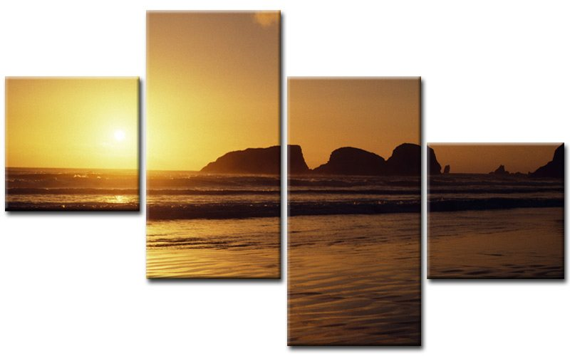 rock on beach leinwand 4 bilder meer m40633 g nstig xxl die leinwandfabrik. Black Bedroom Furniture Sets. Home Design Ideas