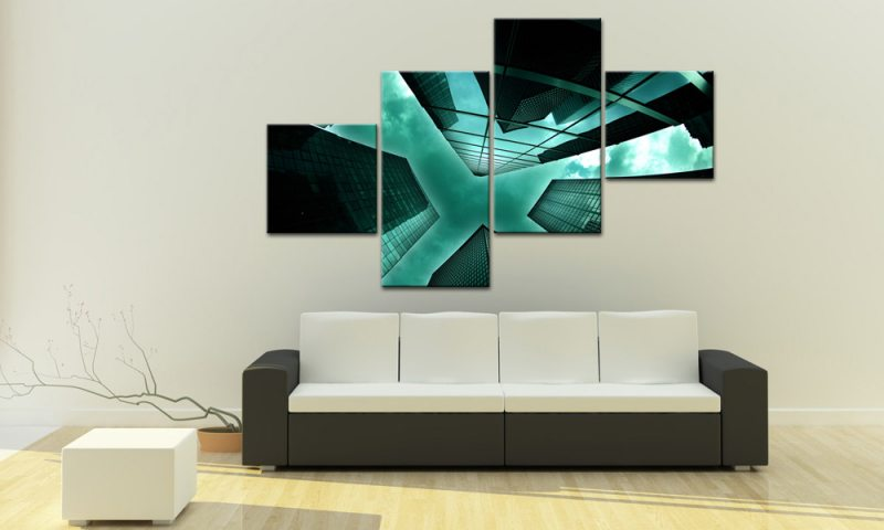 skyscaper green leinwand 4 bilder usa nyc m40650 g nstig xxl die leinwandfabrik. Black Bedroom Furniture Sets. Home Design Ideas
