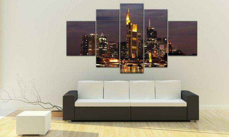frankfurt skyline 5 bilder leinwand ffm city m50433 die leinwandfabrik. Black Bedroom Furniture Sets. Home Design Ideas