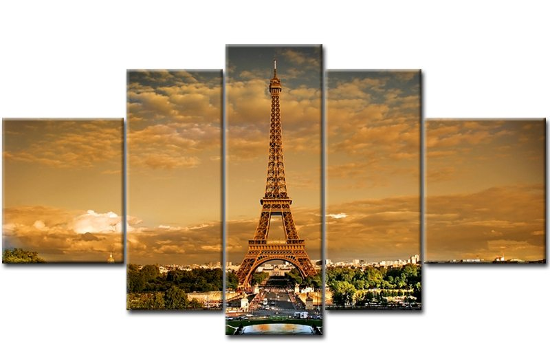 eiffelturm 5 bilder leinwand paris frankreich m50439 die leinwandfabrik. Black Bedroom Furniture Sets. Home Design Ideas