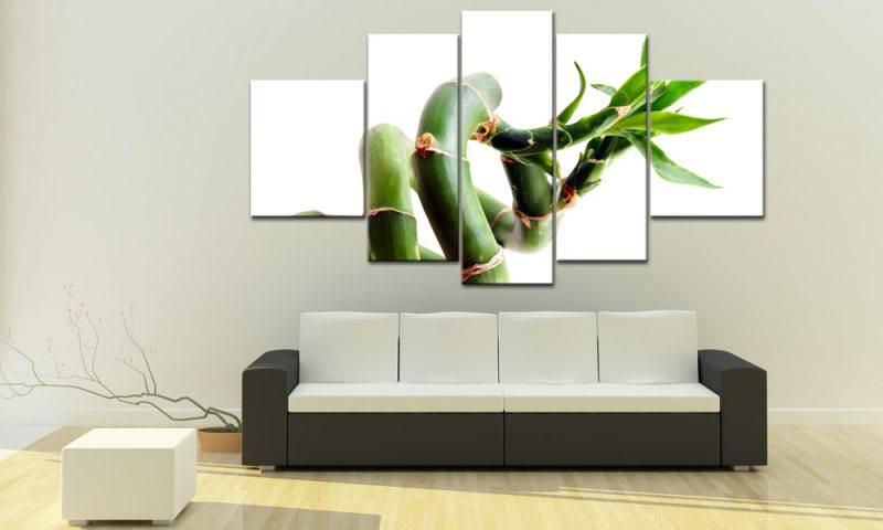 bambus 5 bilder leinwand gl ck bambus gr n m50442 die leinwandfabrik. Black Bedroom Furniture Sets. Home Design Ideas