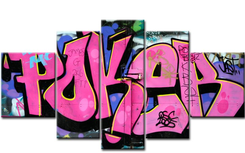 poker graffiti 5 bilder leinwand graffiti pink m50443. Black Bedroom Furniture Sets. Home Design Ideas