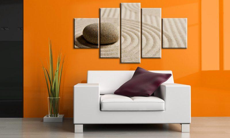 sand and stone 5 bilder leinwand steine feng shui m50445. Black Bedroom Furniture Sets. Home Design Ideas
