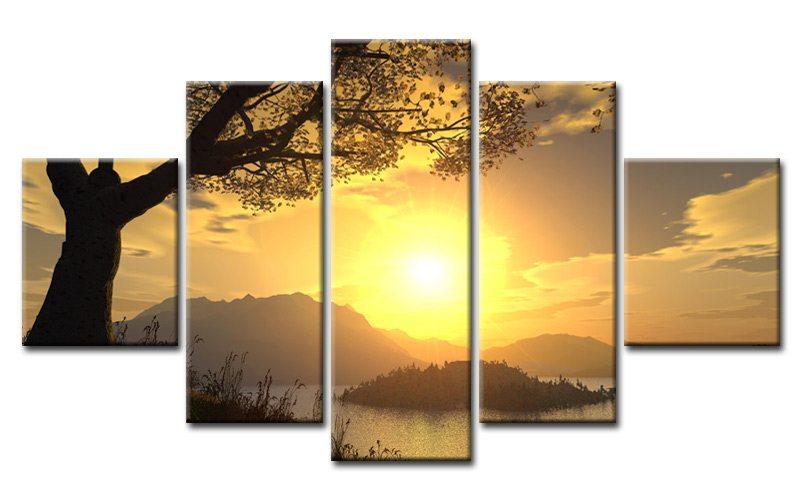 landscape sunrise 5 bilder leinwand strand ocean m50654. Black Bedroom Furniture Sets. Home Design Ideas