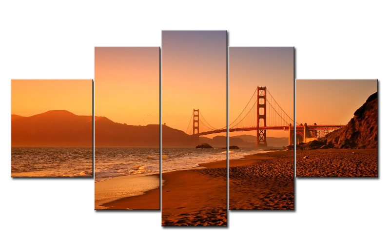 golden gate bridge 5 bilder leinwand usa beach m50993 die leinwandfabrik. Black Bedroom Furniture Sets. Home Design Ideas