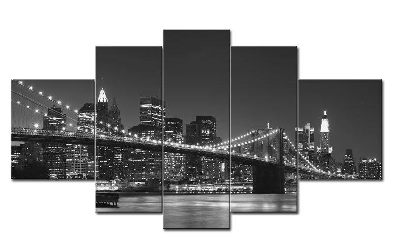 BROOKLYN BRIDGE 5 BILDER LEINWAND NEW YORK S/W M51019 - Die ...