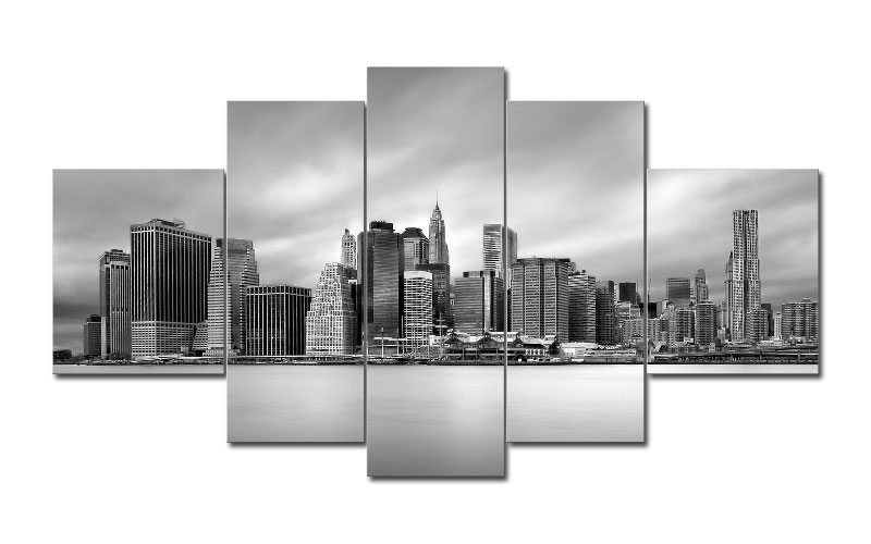 new york leinwand 5 bilder skyline m51231 leinwand auf keilrahmen g nstig die leinwandfabrik. Black Bedroom Furniture Sets. Home Design Ideas
