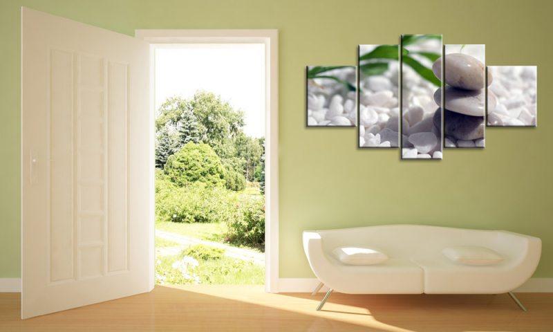 weisse steine 5 bilder leinwand bambus m50199 die. Black Bedroom Furniture Sets. Home Design Ideas