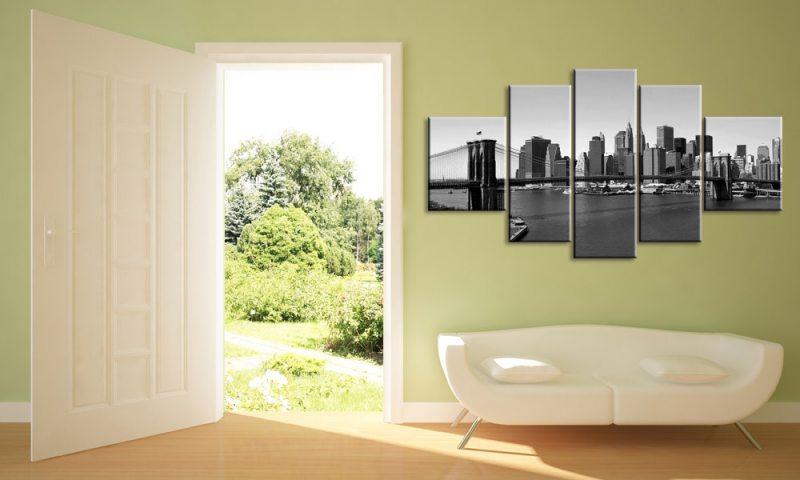new york 5 bilder leinwand schwarz weiss m50405 die leinwandfabrik. Black Bedroom Furniture Sets. Home Design Ideas