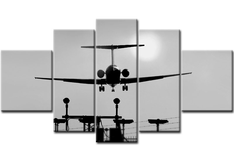 flugzeug sunset 5 bilder leinwand schwarz weiss m50407 die leinwandfabrik. Black Bedroom Furniture Sets. Home Design Ideas