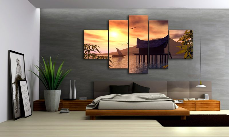 Asiatische Bilder Auf Leinwand asien landschaft 5 bilder leinwand sunset m50408 die leinwandfabrik