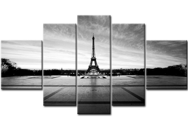 eifelturm paris 5 bilder leinwand schwarz weiss m50427 die leinwandfabrik. Black Bedroom Furniture Sets. Home Design Ideas